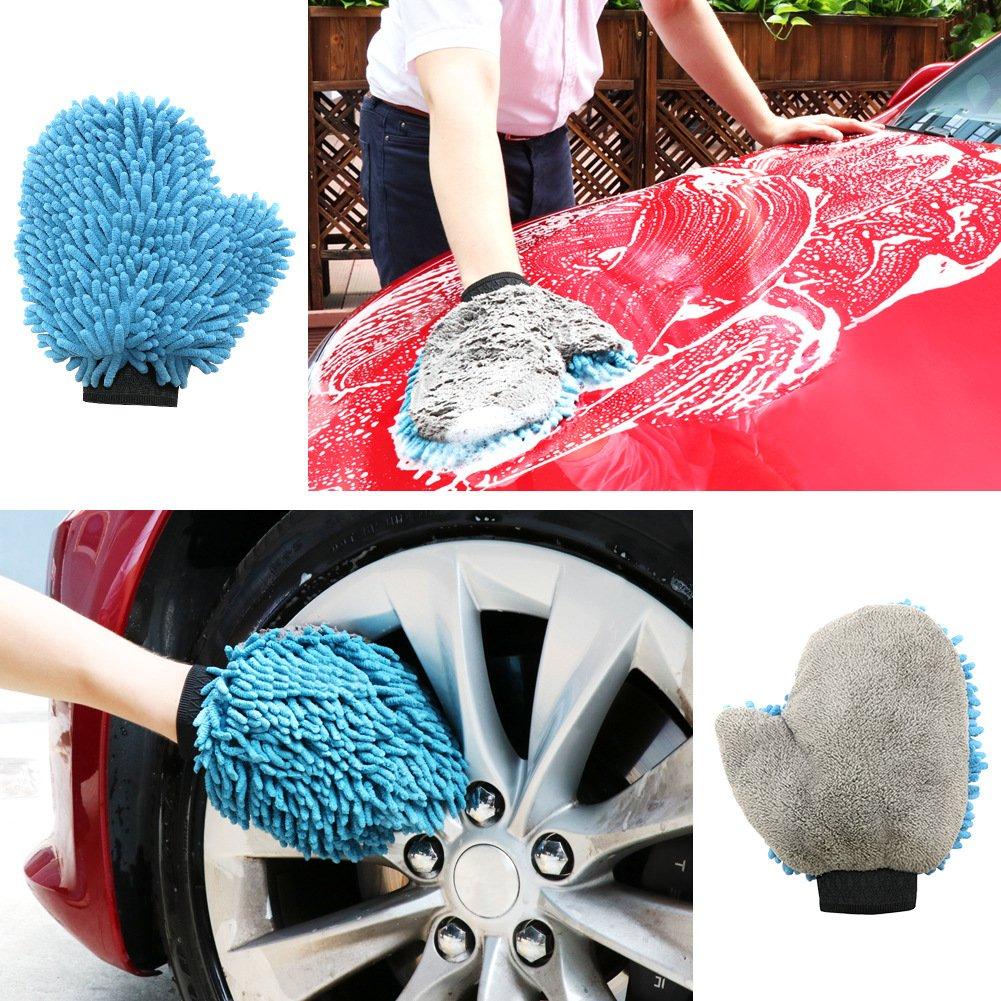 SEG Direct Basic Kit de Nettoyage de Voiture 4 Set Ultra Doux Chenille /& Corail Velvet Lavage Gant Super Vite S/échage Serviette Double Usage Cirer Tampon Applicateur Polissage Serviette