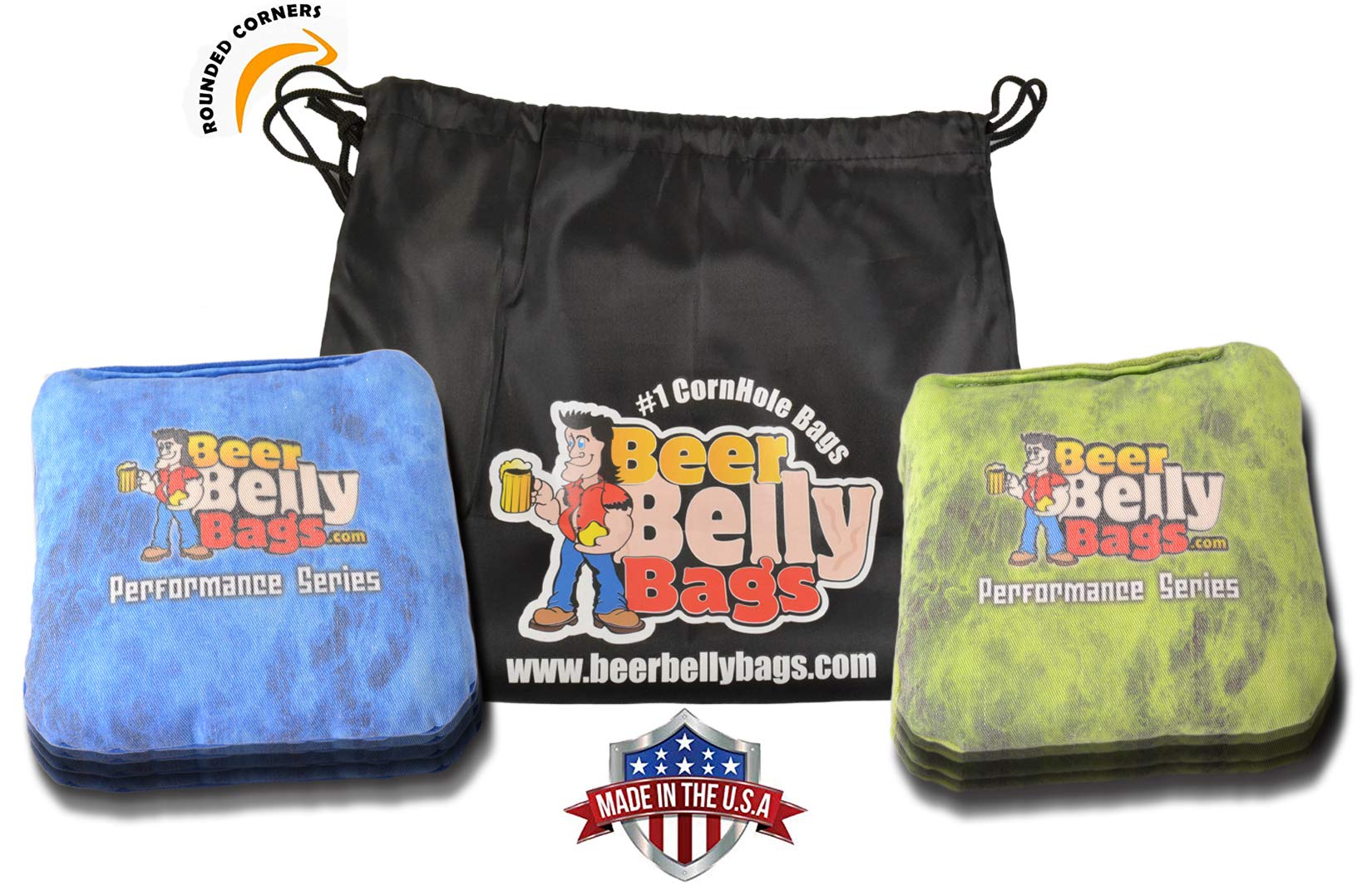 Beer Belly Bags Cornhole - Performance Series 8 Bags ACL Approved Resin Filled - Double Sided - Sticky Side | Slick Side (Lime Fire/Blue Fire) by Beer Belly Bags