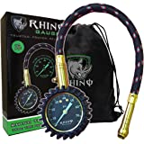 """RHINO USA Heavy Duty Tire Pressure Gauge (0-75 PSI) - Certified ANSI B40.1 Accurate, Large 2"""" Easy Read Glow Dial, Premium Braided Hose, Solid Brass Hardware, Best For Any Car, Truck, Motorcycle, RV"""