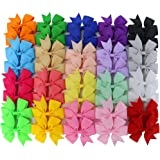 Chiffon 3in Boutique Grosgrain Ribbon PinWheel Hair Bows clips For Baby Girls Teens Toddlers Newborn
