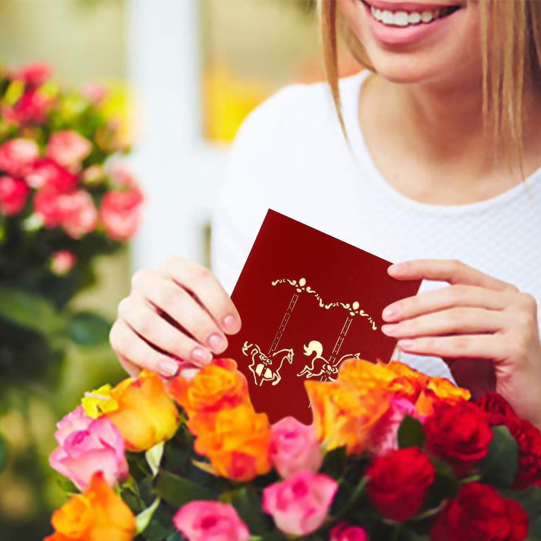 Madre dauguri di Compleanno di San Valentino con Busta Abbinata Ruota Panoramica la Fidanzata Romantico Greeting Carta per Natale Sposa e Sposo VEESUN Biglietto Auguri Matrimonio Pop Up 3D