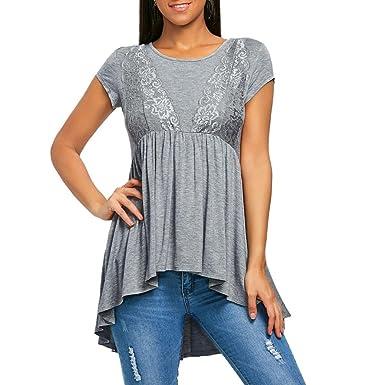 Gaddrt Femme Mode Casual Haut Bas Blouse Top Dentelle Tee-Shirt Manches  Courtes Chemisier ( 974ac0f7362