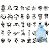 Pack Of 40 PC (Approx.) Antique Silver Plated Oxidized Metal Beads Charms Set Mix Lot - Compatible Bracelets