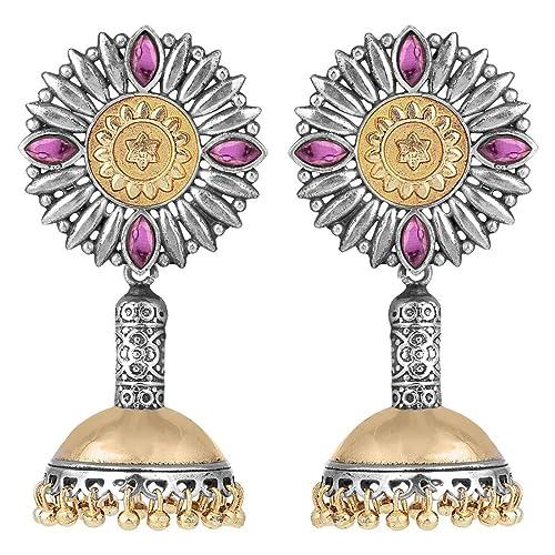 Amazon com: Aheli Victorian Style Indian Oxidized Jhumki Earrings