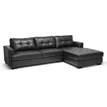 Amazon Com Baxton Studio Dobson Leather Modern Sectional
