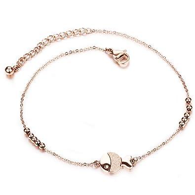 cfca48f05b1ee Cheville Bracelet Femme roseold, Bracelet gutcandie Collier de perles boule  en acier inoxydable chaîne -
