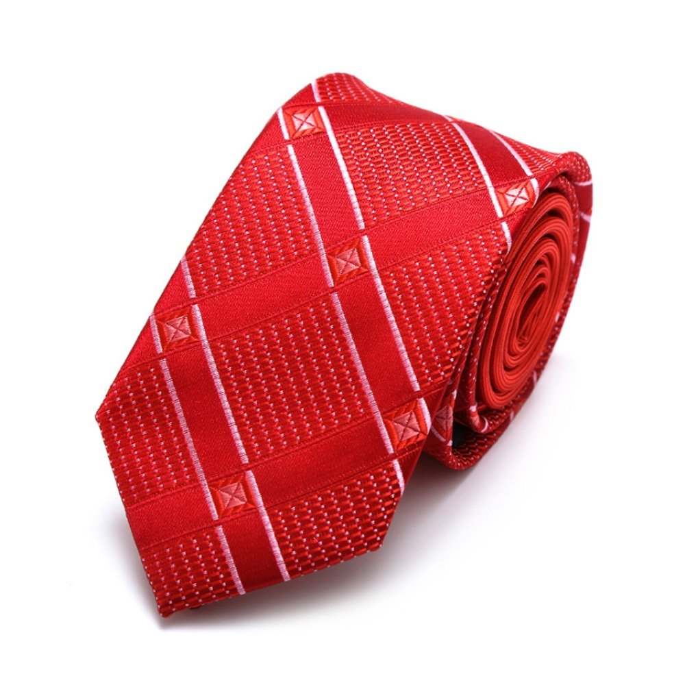 Dig Dog Bone Men Tie Red Necktie Silk and Polyester Blend Jacquard Weave with Gift Box