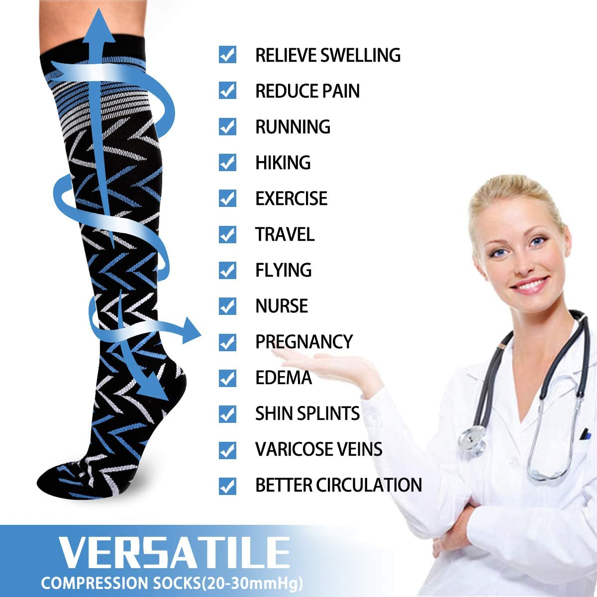 Nurse Edema Pregnancy Running /& Fitness Nursing Compression Socks for Women /& Men-for Medical Varicose Veins Black, L//XL Diabetic Travel /& Flight