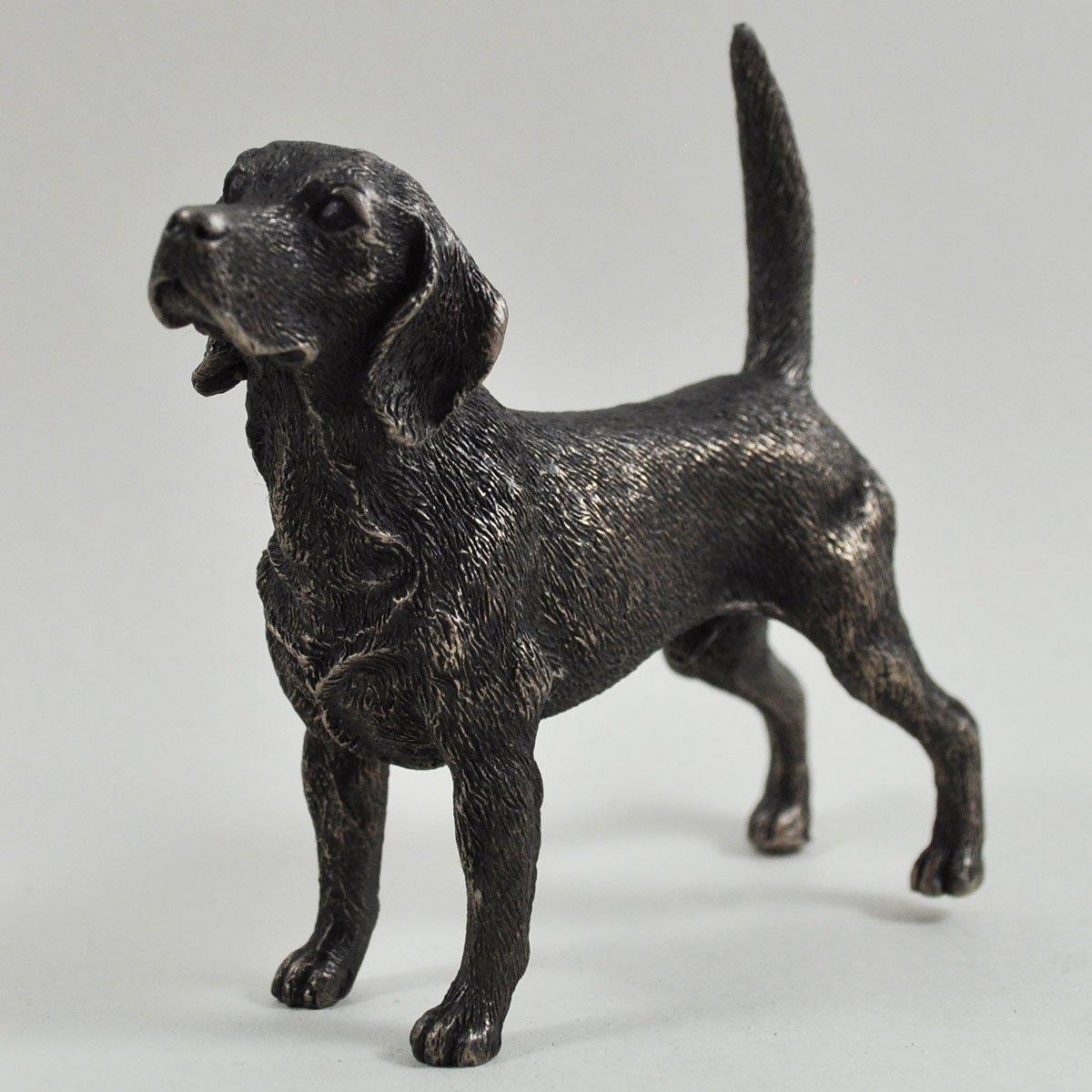 Fiesta Studios Beagle Standing Small Cold Cast Bronze Statue Sculpture Dog Pets Gift Idea H9cm