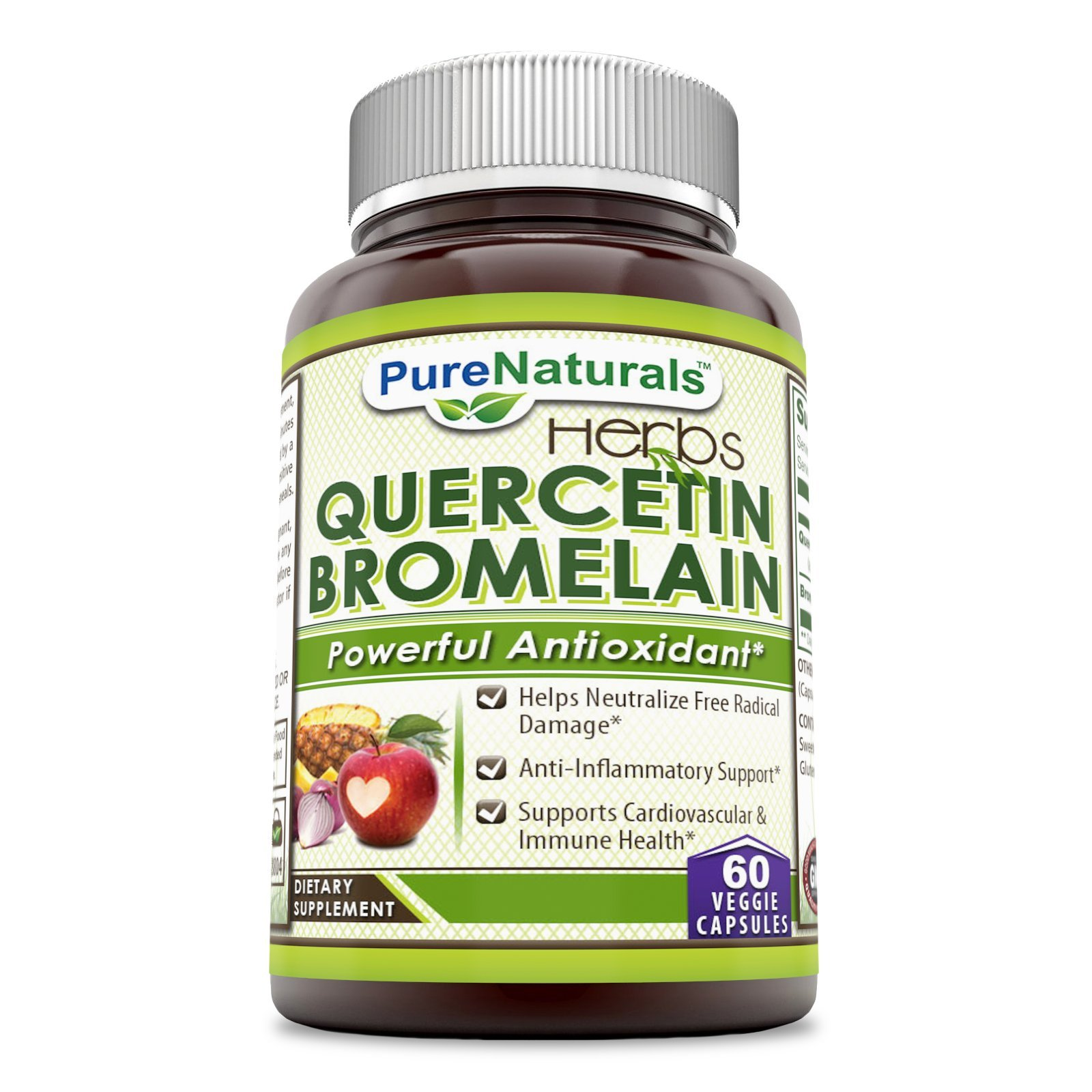 Pure Naturals Quercetin with Bromelain, Veggie Capsules -Reduces Sign of Aging* -Supports Healthy Immune Response* (60 Count)