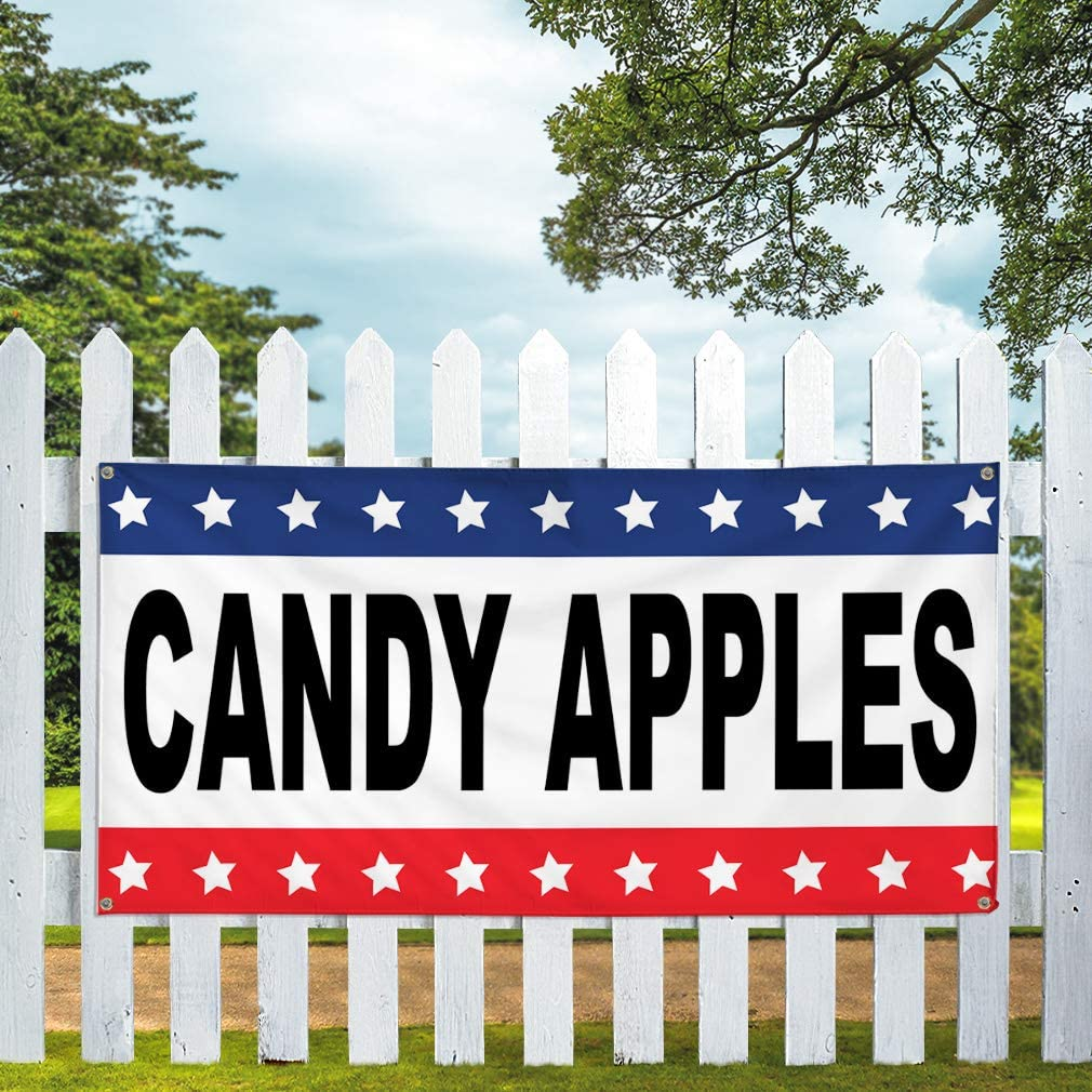 Vinyl Banner Multiple Sizes Candy Apples Black Red Blue Retail Outdoor Weatherproof Industrial Yard Signs 10 Grommets 60x144Inches