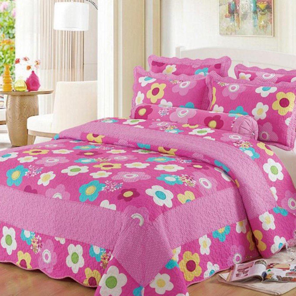 Vesna Paisley Reversible Coverlet 3-Piece Patchwork Quilt Set with Shams Soft Cotton Art Pink Flower Bedspread&Comforter Queen Size Summer Blanket 1 Quilt 2 Pillow Shams Boy Girl Gift