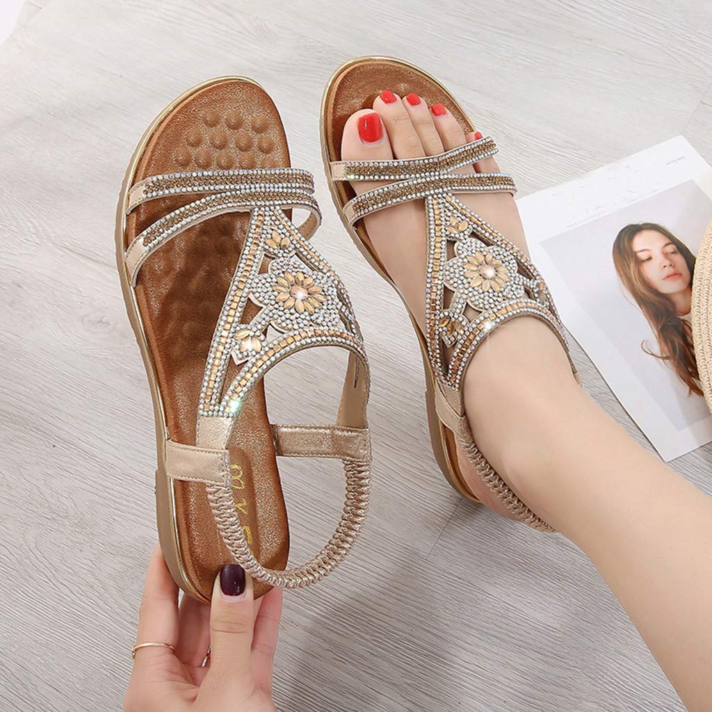 CCOOfhhc Women's Bohemia Sandals Summer Crystal Beach T-Strap Flat Sandals Comfort Walking Shoes Gold by CCOOfhhc (Image #3)