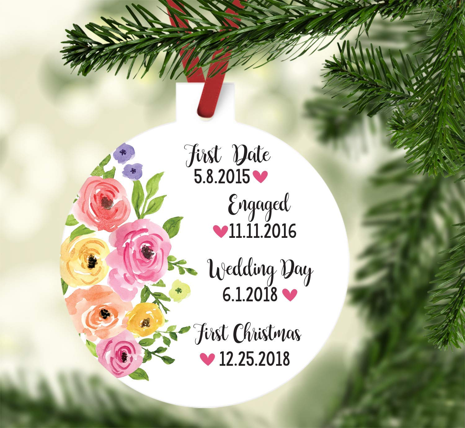 Christmas Date.Amazon Com First Christmas Married Ornament Just Married