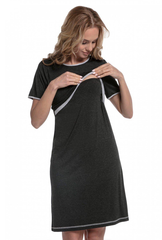 Happy Mama Womens Maternity Hospital Nightie/Robe. Sold Separately. 077p (Nightdress - Graphite Melange & Light Gray Melange, US 6, M)