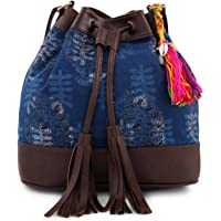 Vivinkaa Women's Ethnic Printed Cotton Blue Indigo Bucket Bag