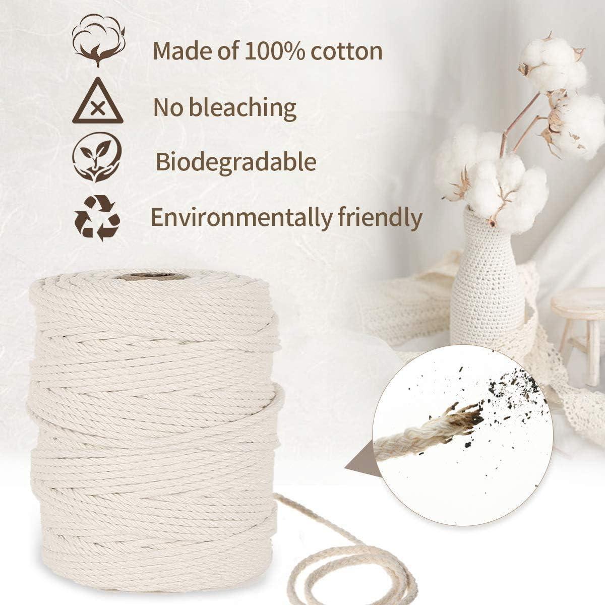 Colgar Fotos Manualidades Costura Macrame cuerda,Cuerda de Algod/ón Natural,Hilo Macram/é,para DIY Artesan/ía 100m x 3mm