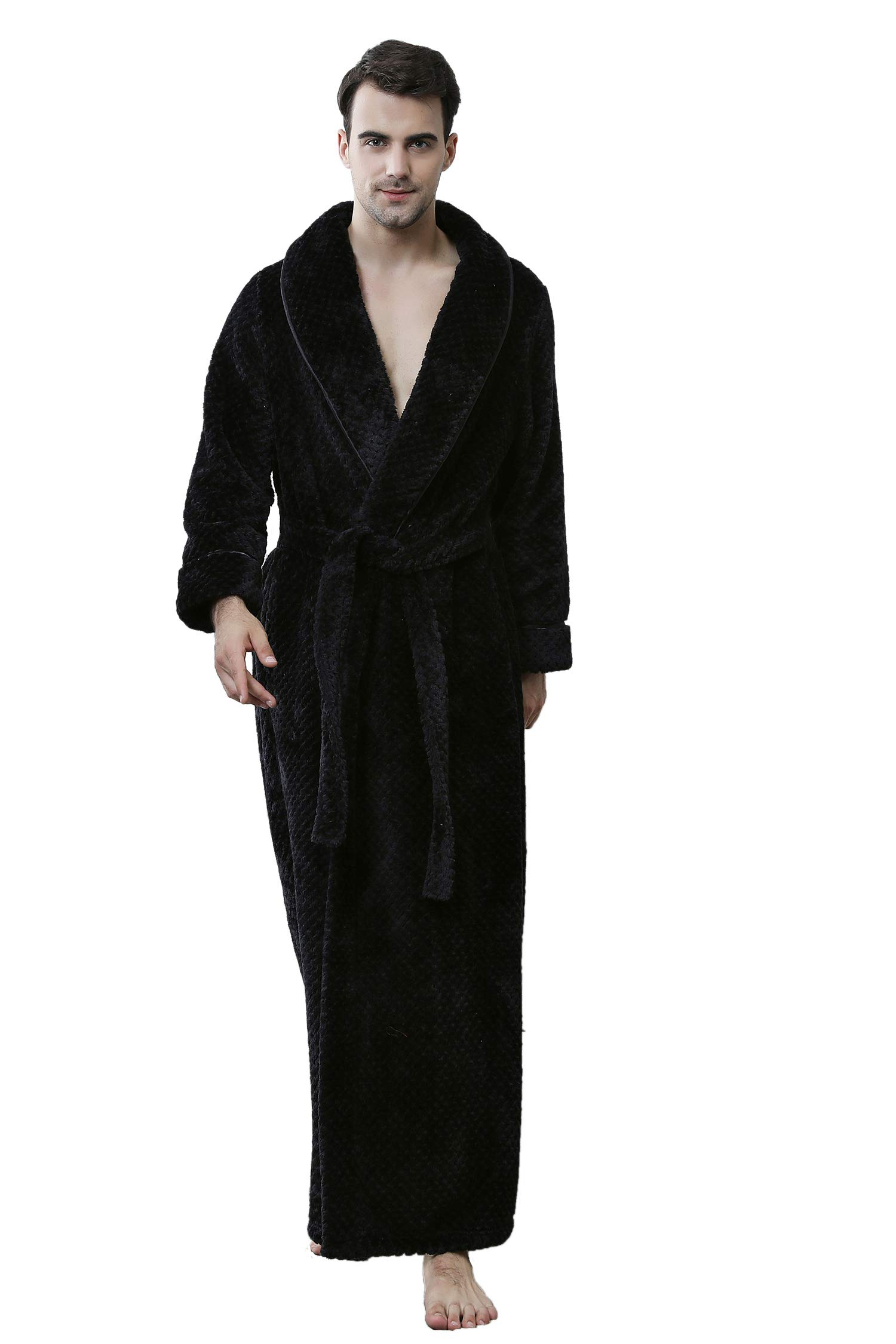 Cahayi Unisex Bathrobe Women Men Winter Thick Warm Long Robe Sleepwear Housecoat