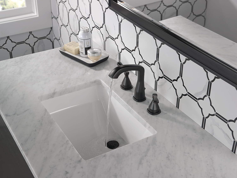 delta faucet stryke widespread bathroom faucet 3 hole matte black bathroom faucet diamond seal technology metal drain assembly matte black