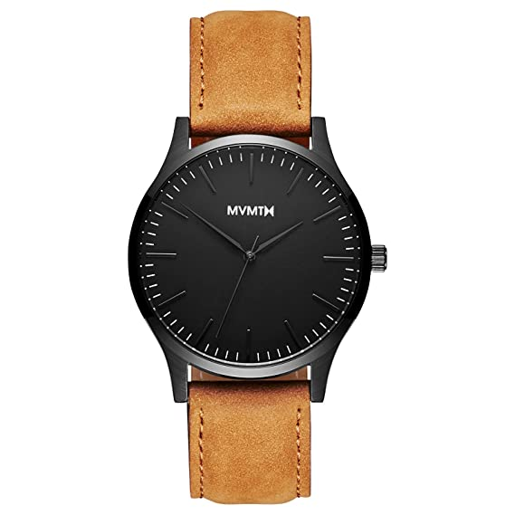 Amazon.com: MVMT 40 Series Watches | 40 MM Mens Analog Watch | Black Tan: Watches