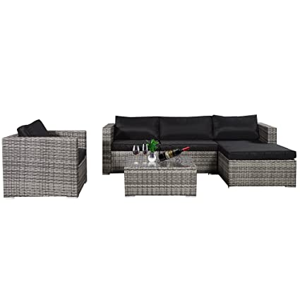 Cloud Mountain 6 Piece Rattan Wicker Furniture Set Outdoor Patio Garden  Sectional Sofa Set Cushions, - Amazon.com: Cloud Mountain 6 Piece Rattan Wicker Furniture Set