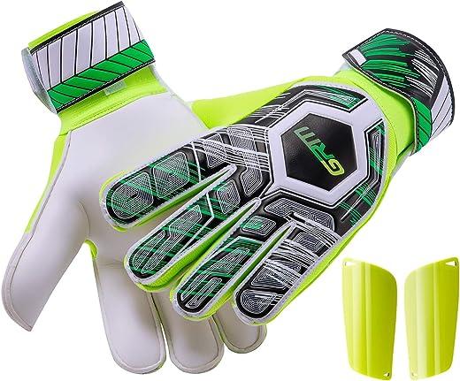 قفازات GRM Goalie للشباب، حارس المرمى مع حماية متطورة لحماية الأصابع وراحة اليد الفائقة، قفازات كرة القدم المقاومة للانزلاق للكبار، مقاس 7-10، واقيات قدم إضافية متوسطة أو كبيرة