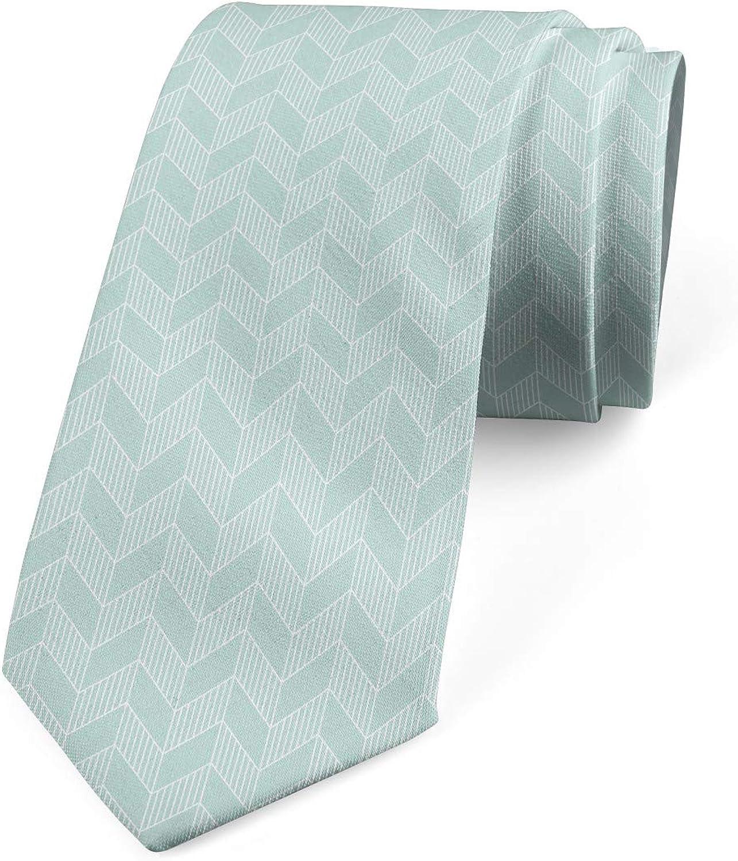 Pastel Monochrome Zigzags Pale Seafoam and White 3.7 Ambesonne Necktie