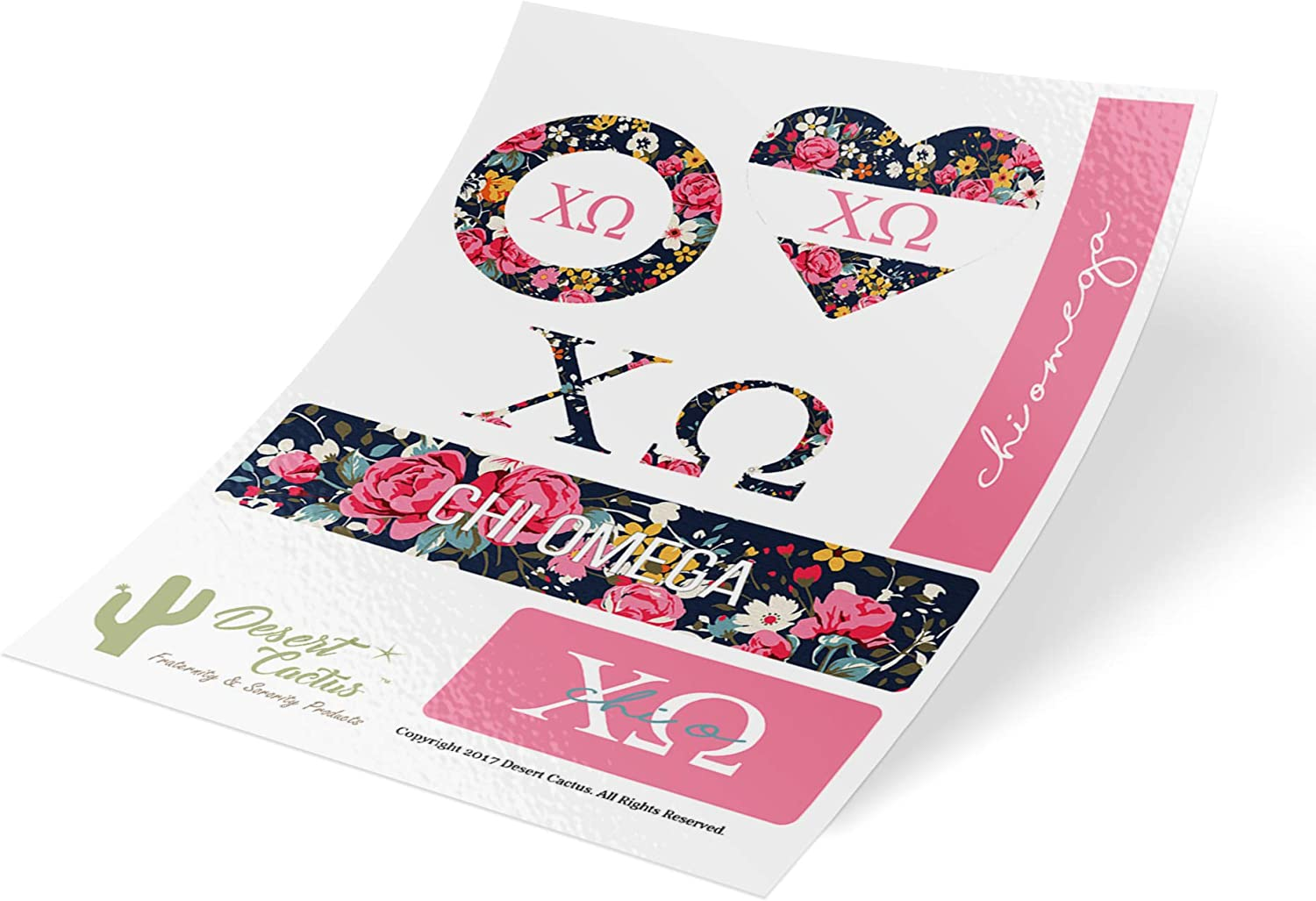 Chi Omega Classic Floral Sticker Decal Laptop Water Bottle Car (Sheet C. Floral)