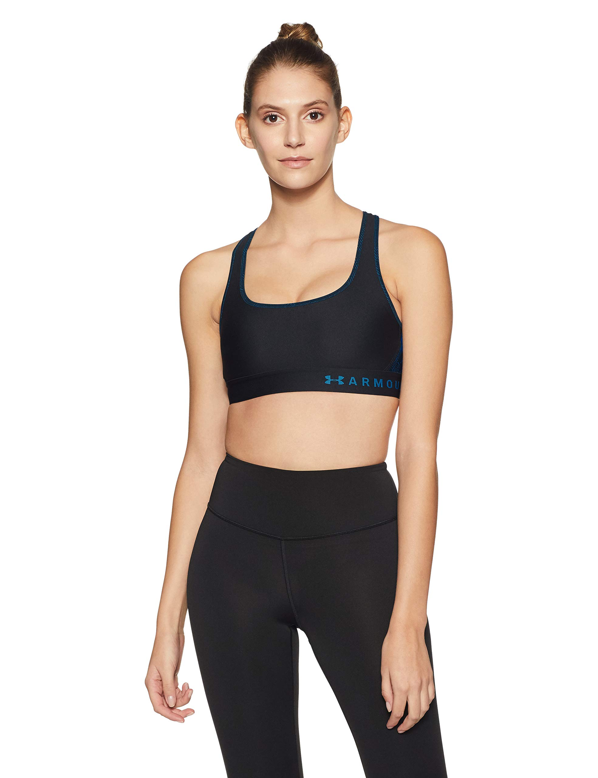 Under Armour Women's Armour Mid Crossback Print Sports Bra, Black (009)/Blue Circuit, X-Small