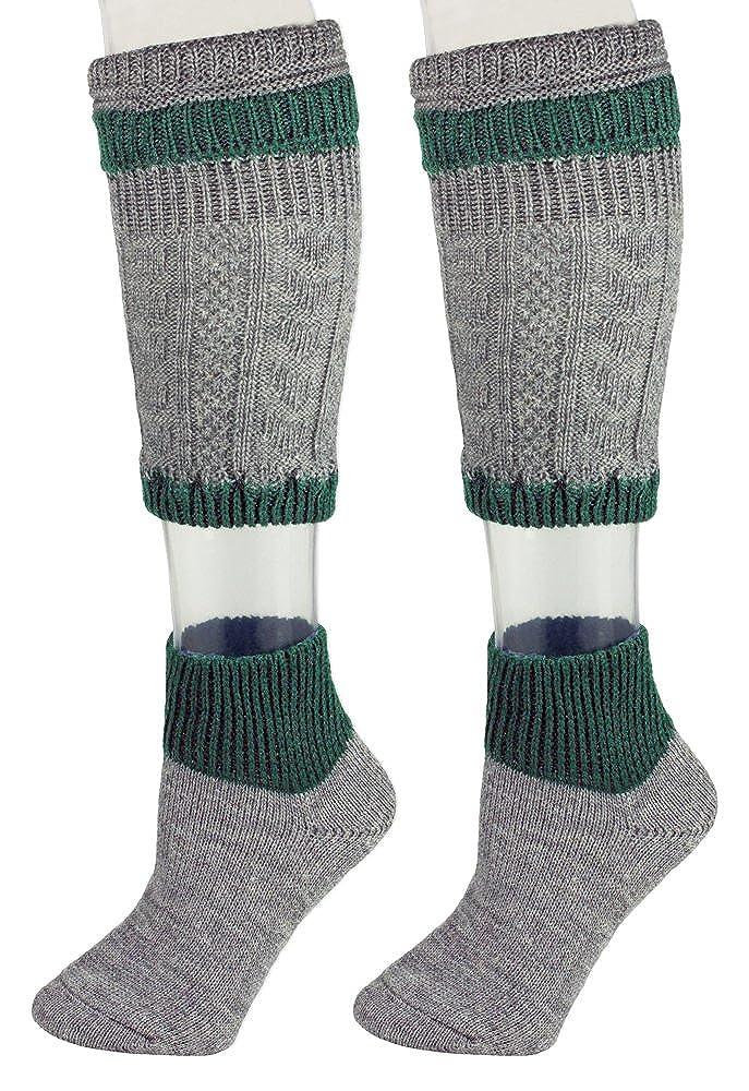 Grau Dunkelgr/ün Loferl Trachtensocken f/ür Herren Sch/öne zweiteilige Loferl Str/ümpfe bestehend aus Socken und Wadenw/ärmer