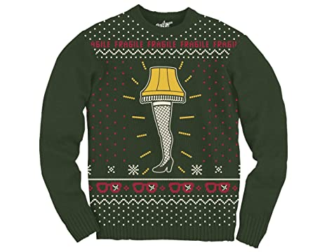 ripple junction a christmas story leg lamp front only adult knit sweater small dark green