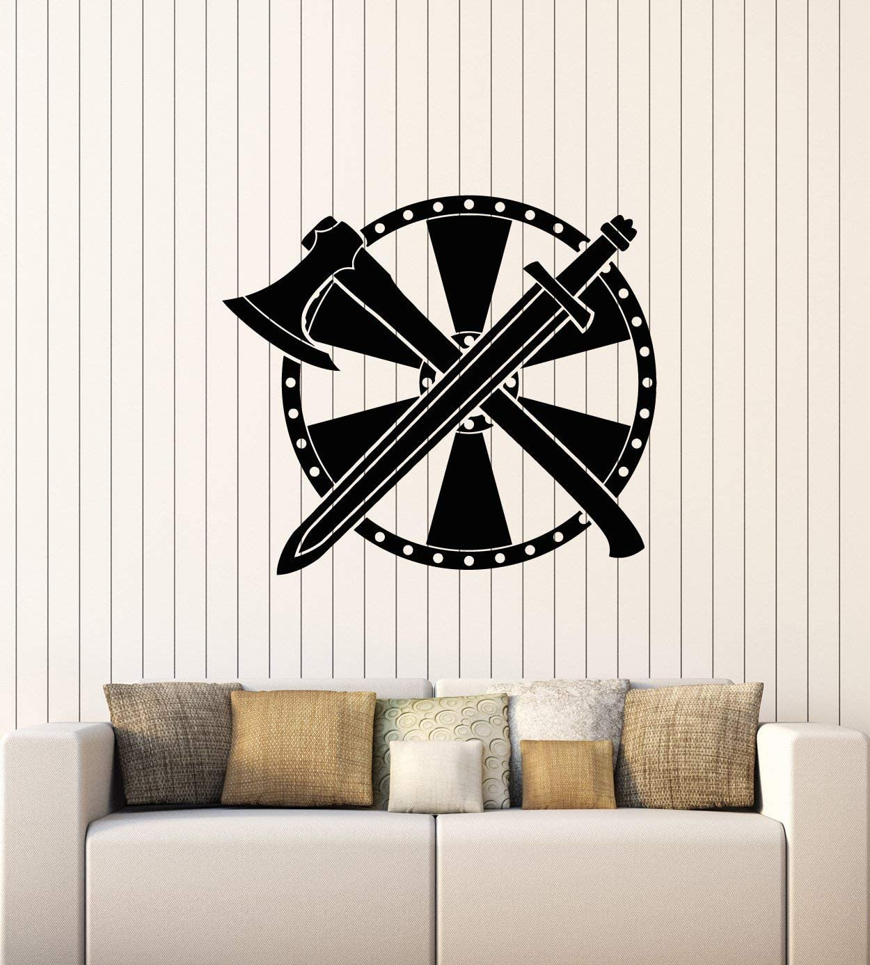 Vinyl Wall Decal Man Cave Decor Warrior Shield Axe Sword Weapons Stickers Mural Large Decor (g1383) Black