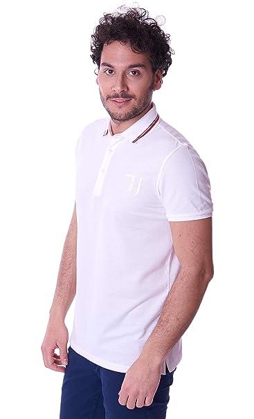 Trussardi Jeans Polo Uomo Manica Corta Bianca con Contrasto 52T00115 -  Bianco 4ad1594f9ad
