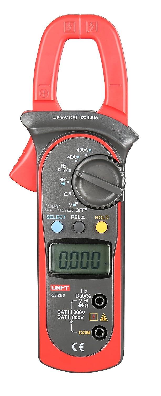 UNI-T UT203 Medidor Digital de pinza ac dc voltaje corriente resistencia frecuencia mult/ímetro Tester
