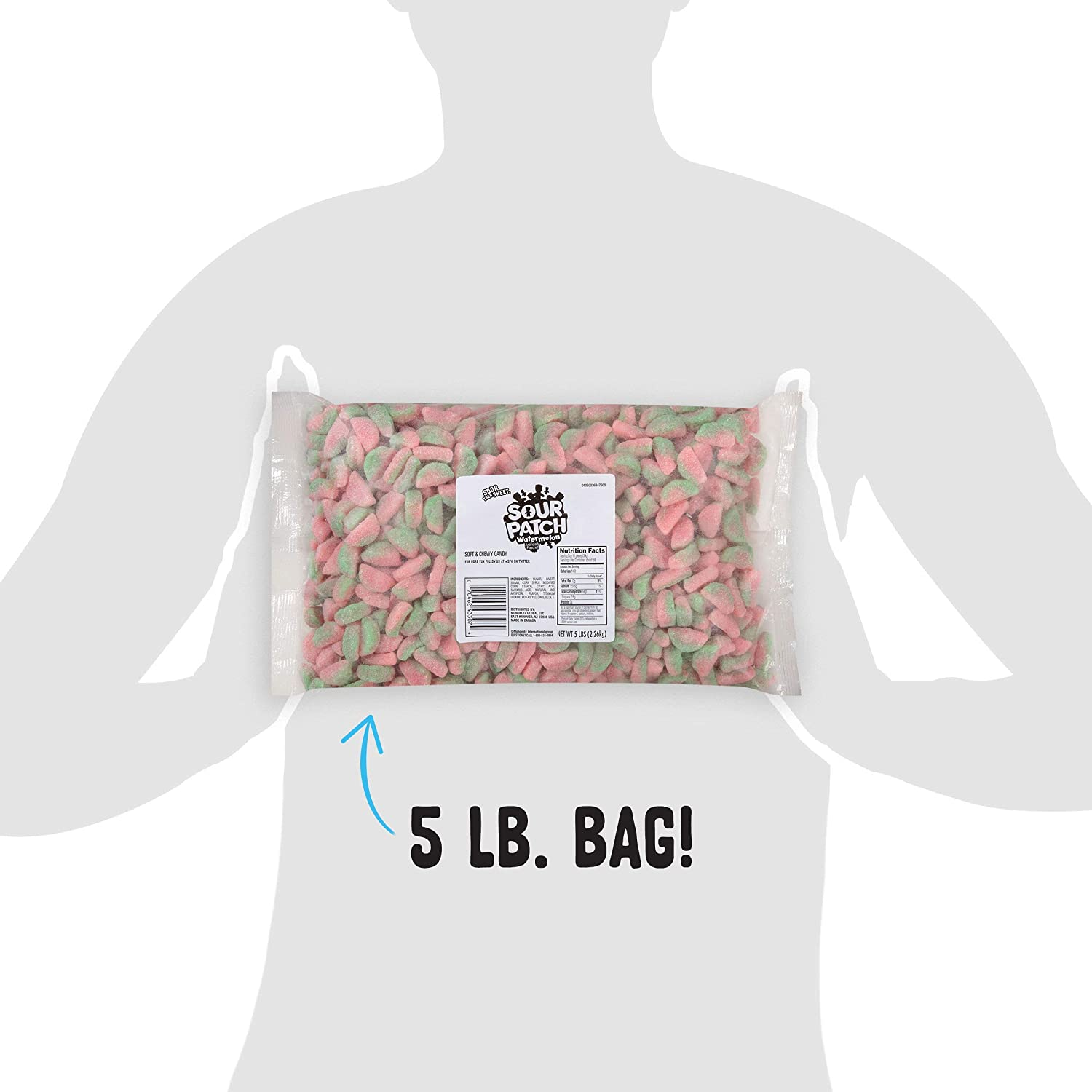 Sour Patch Kids Soft & Chewy Candy, 5 lb Bag, Red 5 Pound, Watermelon, 80 Oz : Grocery & Gourmet Food