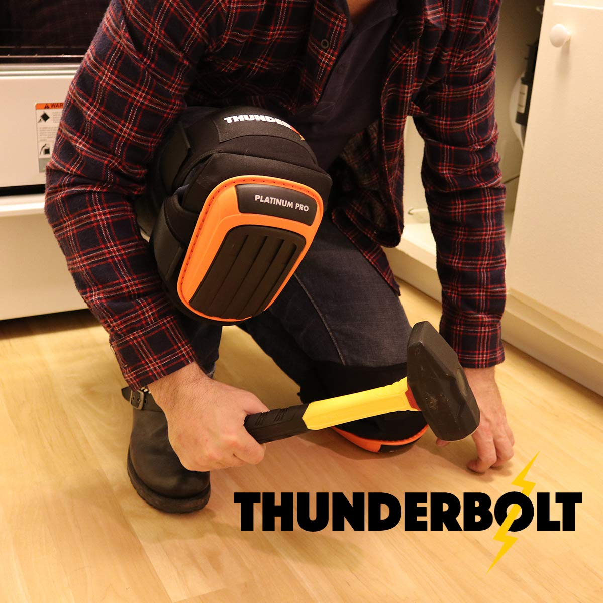 Knee Pads for Work by Thunderbolt with Heavy Duty Foam Cushioning and Gel Cushion Perfect for Construction, Flooring and Gardening with Adjustable Anti-Slip Straps by Thunderbolt (Image #7)