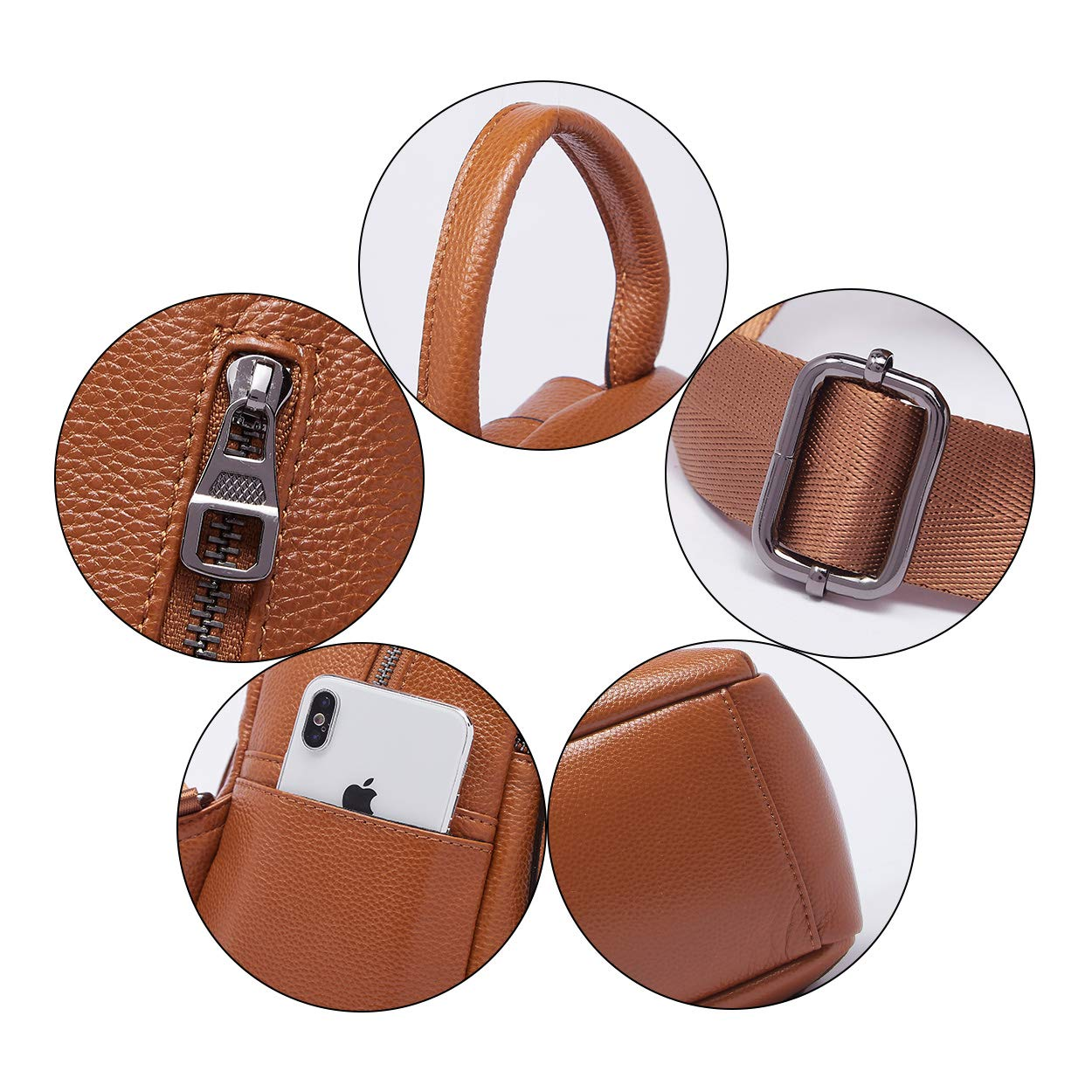 BOYATU Genuine Leather Backpack Purse for Women Anti-theft Small Shoulder Bags by BOYATU (Image #5)