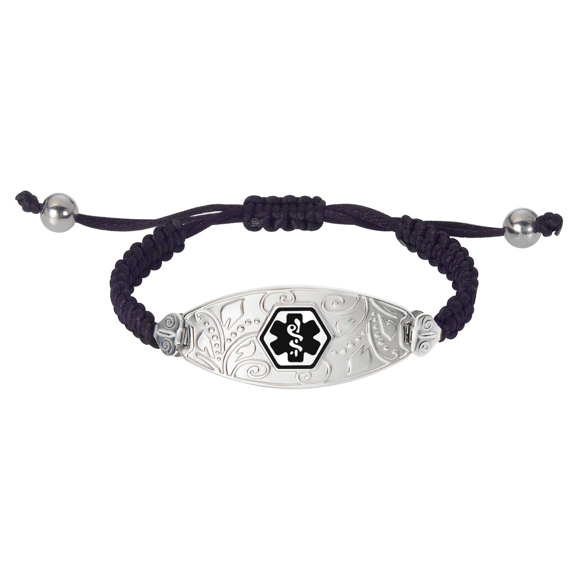 Divoti Deep Custom Laser Engraved Lovely Filigree Black Macrame Medical Alert Bracelet - Adjustable -Black