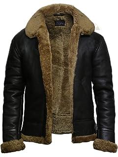 7c55e15dcea72 Brandslock Mens Flying B3 Genuine Shearling Sheepskin Leather Bomber Jacket