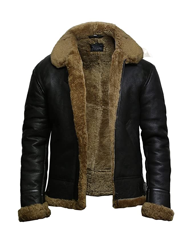 Mens Brown Flying B3 Real Shearling Ginger Sheepskin Leather Bomber Jacket at Amazon Mens Clothing store: