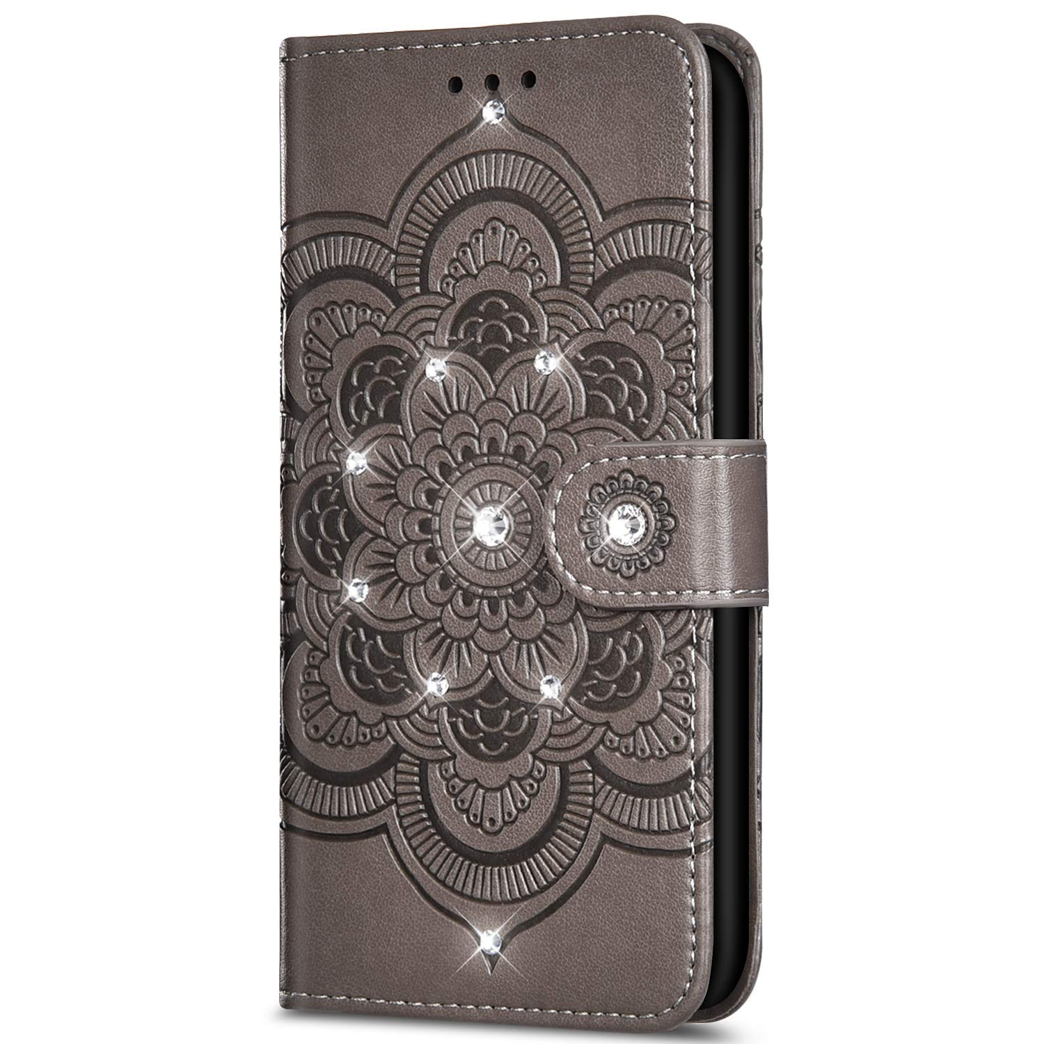 Case for Huawei Honor 8A Bling Glitter Rhinestone Sun mandala flower Embossed relief Flip PU Leather Wallet Case with Stand Function[Card Slots] [Magnetic closure]for Huawei Honor 8A,Gray by ikasus