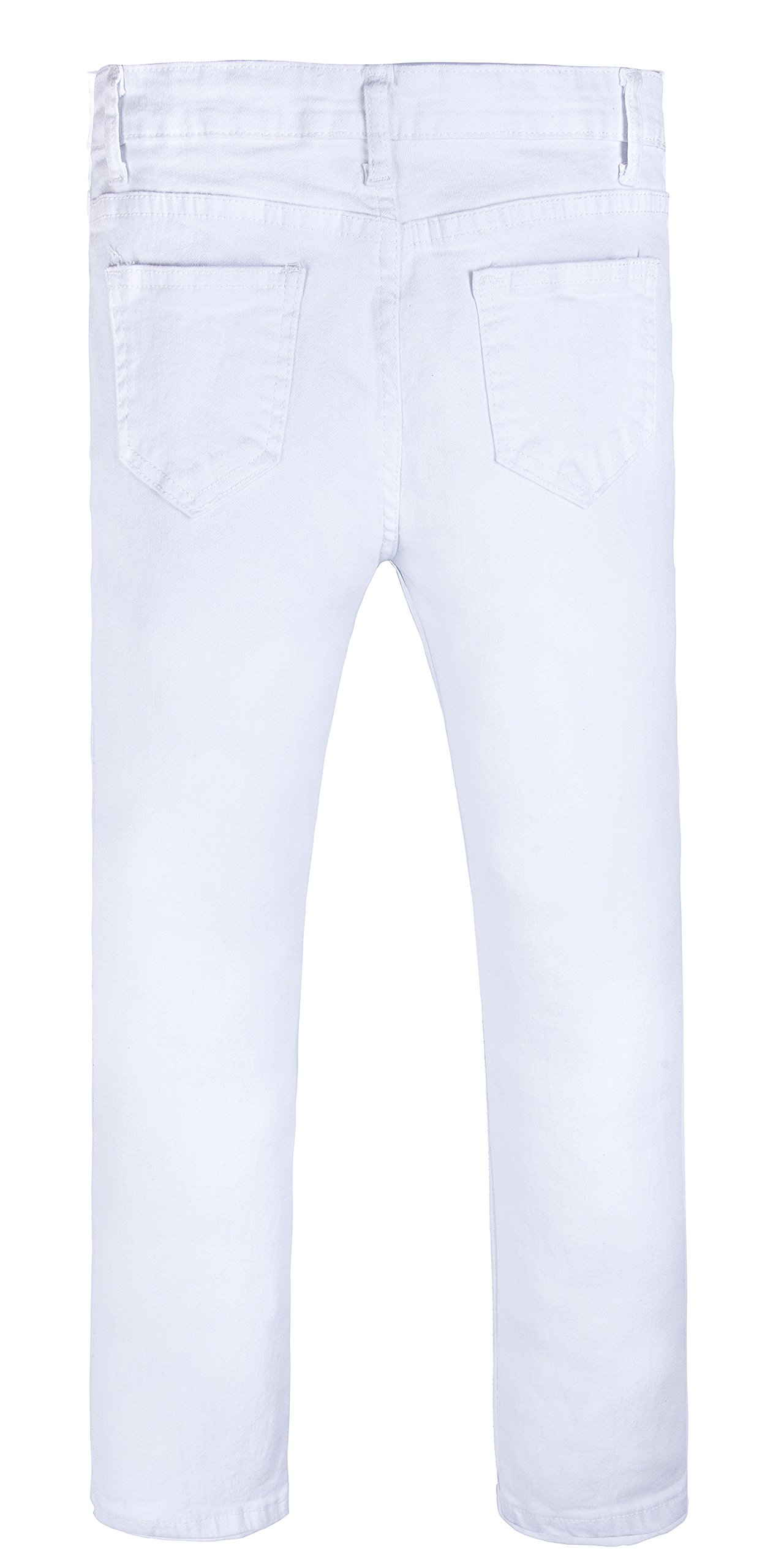 Girls Fashion Skinny Fit Jeans Distressed Ripped Hole Denim Pants White 7t by GALMINT (Image #2)