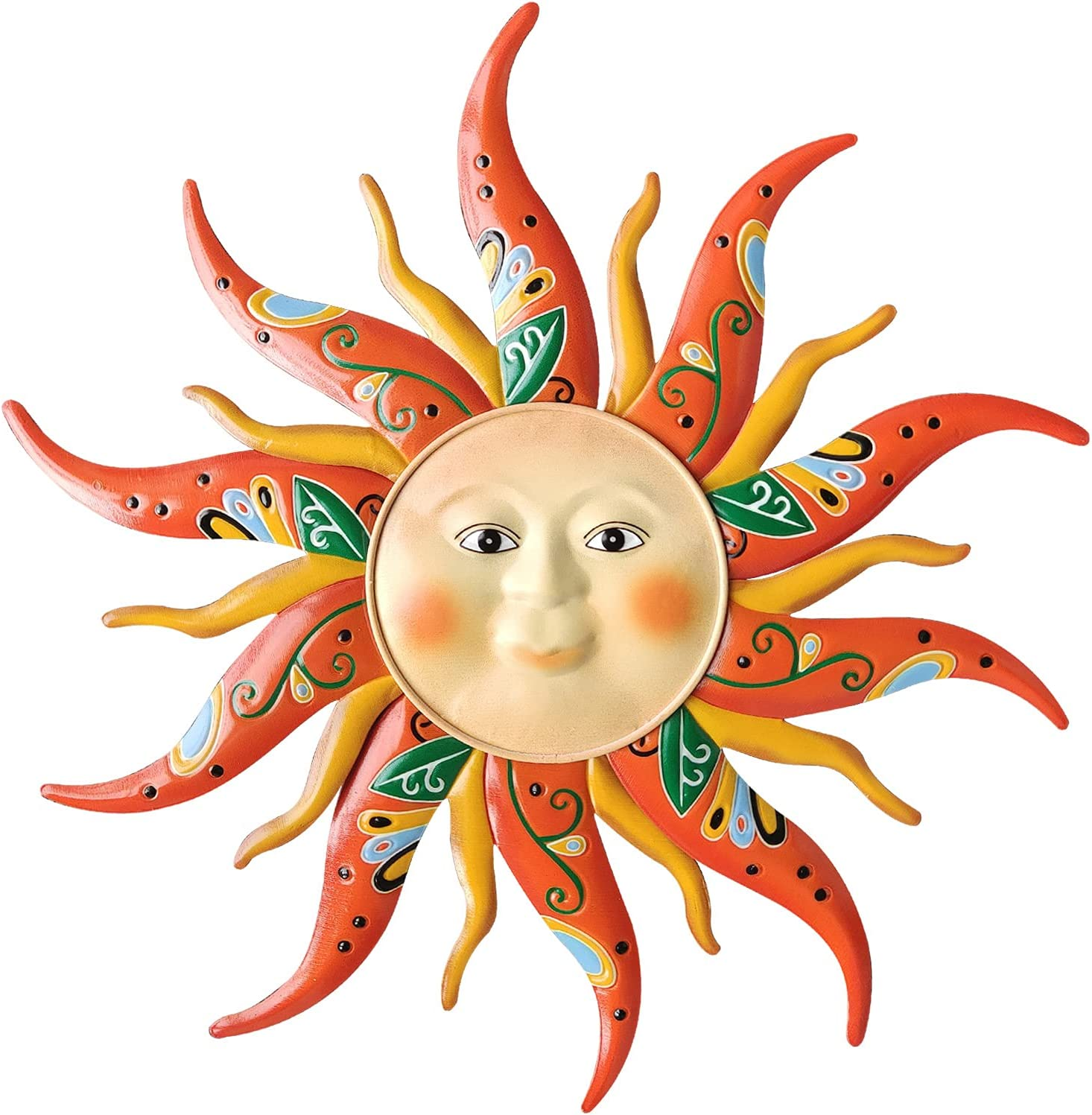 VOKPROOF Large Metal Sun Wall Art Decor - Sun Face Wall Garden Sculptures & Statues for Indoor and Outdoor, Farmhouse, Yard, Patio, Garden Decoration