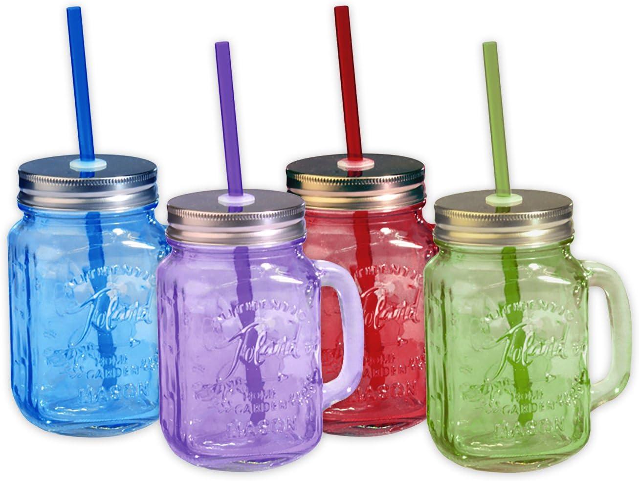 Toland Home Garden Mason Jar 16 oz Mug (Set of 4), Red/Purple/Blue/Green, 1 pint - S340001