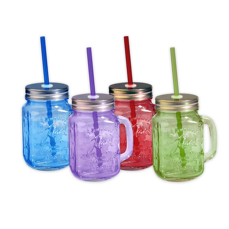 Toland Home Garden Mason Jar 16 oz Mug (Set of 4), Red/Purple/Blue/Green, 1 pint