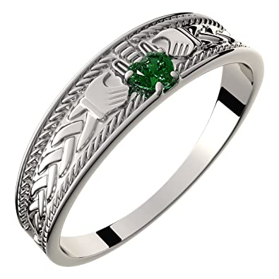 9b4db69958084 Amazon.com: GWG Sterling Silver Claddagh Ring with Heart Shaped ...