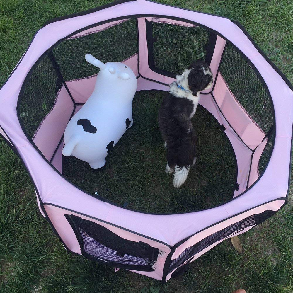 """ToysOpoly #1 Premium Pet Playpen – Large 45"""" Indoor/Outdoor Cage. Best Exercise Kennel for Your Dog, Cat, Rabbit, Puppy, Hamster or Guinea Pig. Portable Fabric Pen for Easy Travel (Light Pink) by ToysOpoly (Image #9)"""