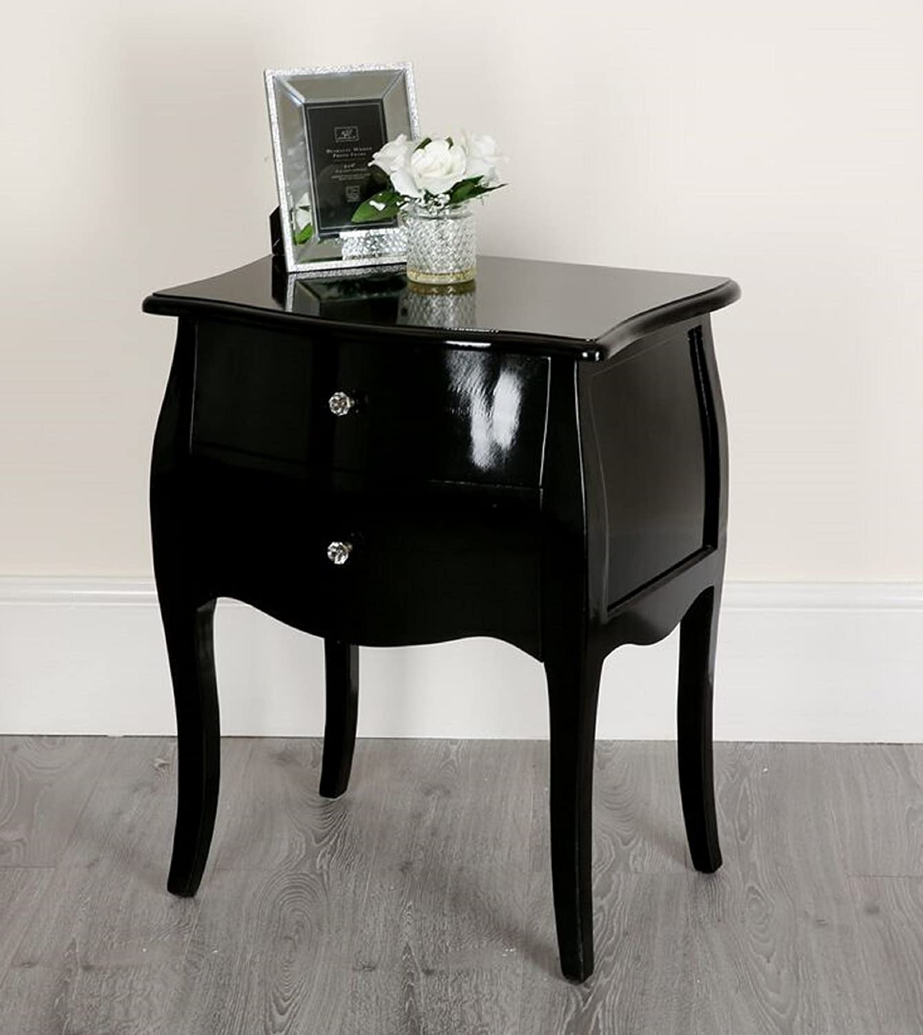 Abreo Black Shabby Chic Console Side Table French Bedroom Hallway 2 3 5 Chest Drawers (2 Drawer Tall Bed Side Cabinet)