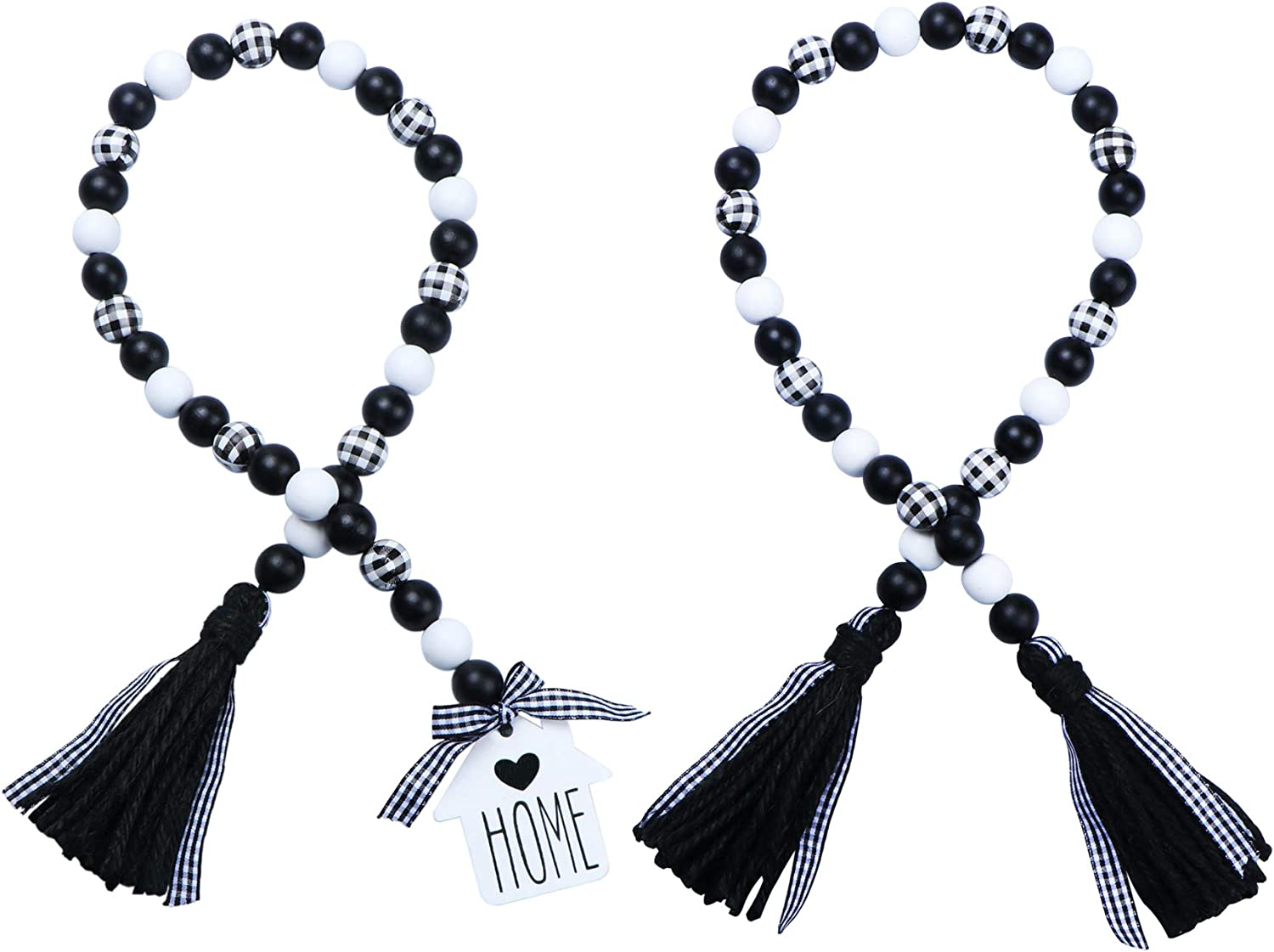 JOTFA 2 Pcs Black & White Plaid Wood Bead Garland, Rustic Farmhouse Wooden Bead Garland with Jute Rope Plaid Tassel & Wooden Home Sign for Natural Country Home Décor Tiered Trays Décor