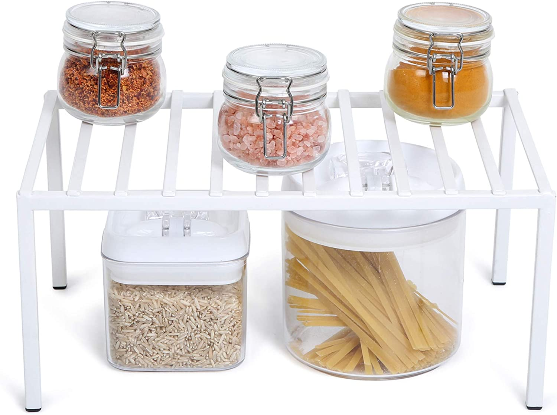 Smart Design Premium Cabinet Storage Shelf - Medium (13.25 x 8.5 Inch) - Steel Metal Frame - Rust Resistant Coating - Cup, Dish, Counter & Pantry Organization - Kitchen [White]